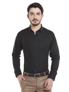 Solemio 100 Percent Black Cotton Full Sleeve Shirt For Mens (code - A17sh1060echrcl)