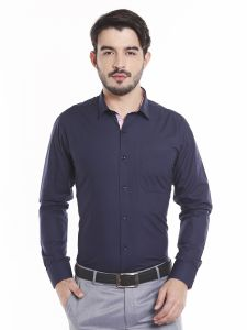 Solemio 100 Percent Navy Blue Cotton Full Sleeve Shirt For Mens (code - A17sh1060env)