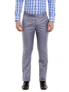 Solemio Polyester Viscose Grey Trouser For Mens (code - A17tr1036elbl)