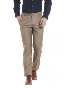 Solemio Polyester Viscose Khaki Trouser For Mens (code - A17tr1038ekh)