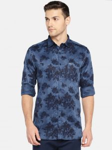 Solemio Men Blue Printed Casual Shirt (code - A18sh1007ebu)