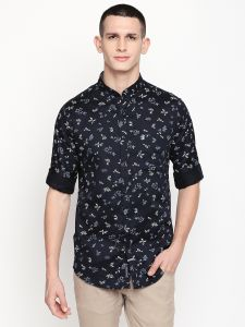 Solemio Men's Wear - Solemio Navy Blue Printed Cotton Shirt For Mens  (Code - A18SH1008ENV)