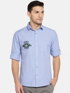 Solemio Men Blue Checked Casual Shirt (code - A18sh1009elbl)