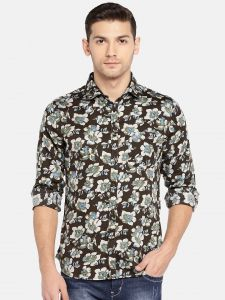 Solemio Men's Wear - Solemio Men Black & Beige Printed Casual Shirt  (Code - A18SH1013EBR)