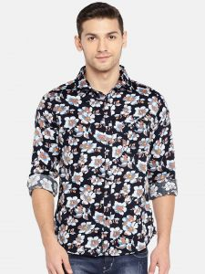 Solemio Men Navy Blue & White Printed Casual Shirt (code - A18sh1013env)