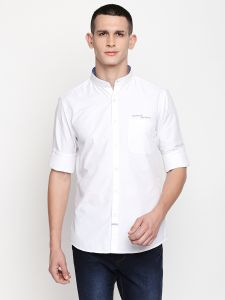 Solemio White Poly Cotton Shirt For Mens (code - A18sh1014ewh)