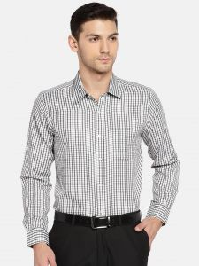 triveni,my pac,solemio,bagforever,shonaya,soie Men's Wear - Solemio Men White & Black Checked Formal Shirt  (Code - A18SH1015EDG)