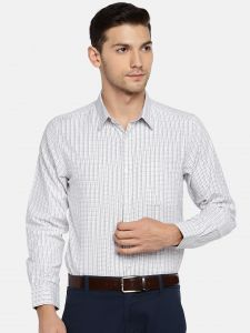 triveni,my pac,solemio,bagforever Men's Wear - Solemio Men White & Black Checked Formal Shirt  (Code - A18SH1015EPU)