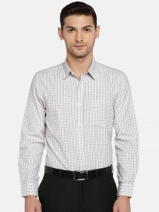 triveni,my pac,solemio,bagforever,shonaya,soie Men's Wear - Solemio Men White & Black Checked Formal Shirt  (Code - A18SH1015EYW)