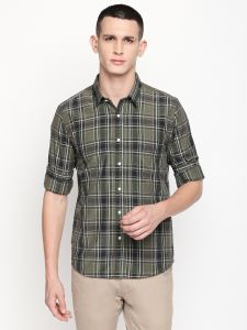 triveni,my pac,Bagforever,Pick Pocket,Solemio Apparels & Accessories - Solemio Olive Poly Cotton Checks Shirt For Mens  (Code - A18SH1016EOL)