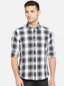 Solemio Men Black & White Checked Casual Shirt (code - A18sh1017ebl)