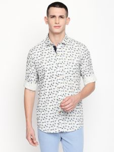 Solemio Men's Wear - Solemio Beige Printed Cotton Shirt For Mens  (Code - A18SH1020ELG)