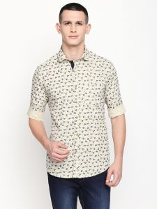 Solemio Beige Printed Cotton Shirt For Mens (code - A18sh1020elk)