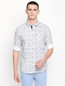 Solemio White Printed Cotton Shirt For Mens (code - A18sh1020ewh)