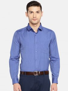 Solemio Formal Shirts (Men's) - Solemio Men Blue Solid Formal Shirt  (Code - A18SH1022EBU)