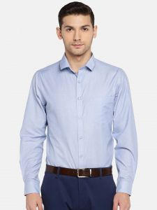 solemio Formal Shirts (Men's) - Solemio Men Blue Solid Formal Shirt  (Code - A18SH1022ELBL)