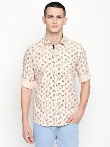 Solemio Brown Printed Cotton Shirt For Mens (code - A18sh1023epe)