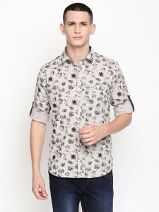 Solemio Beige Printed Cotton Shirt For Mens (code - A18sh1025egr)