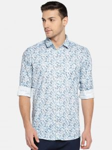 Solemio Men White & Blue Printed Casual Shirt (code - A18sh1039ebu)