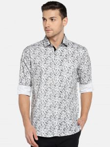 Solemio Men's Wear - Solemio Men White & Grey Printed Casual Shirt  (Code - A18SH1039EGR)