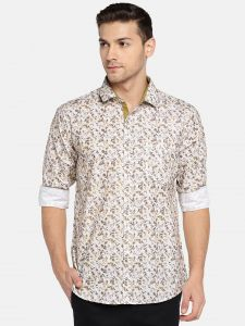 Solemio Men White & Brown Printed Casual Shirt (code - A18sh1039eyw)