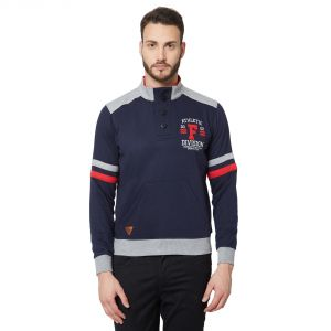 Fitz Navy Blue Mock Collar Sweatshirt For Mens (code - A18sw9001nv)