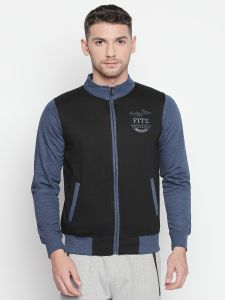 Men's Wear - Fitz Black Mock Collar Zipper Sweatshirt For Mens (Code - A18SW9004BL)