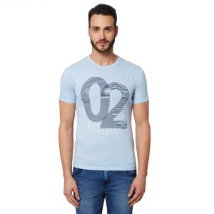 Fitz Blue Round Neck T-shirt For Mens (code - A18ts7012lbl)
