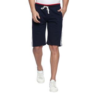Fitz Polyster Cotton Navy Blue Bermuda For Mens (code - S18br7001nv)