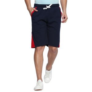 Fitz Polyster Cotton Navy Blue Bermuda For Mens (code - S18br7002nv)