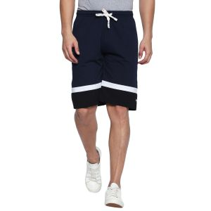 Fitz Polyster Cotton Navy Blue Bermuda For Mens (code - S18br7003nv)