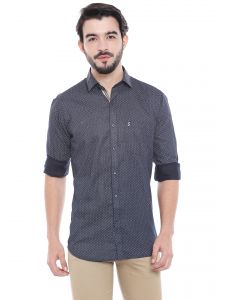 Solemio Navy Blue Cotton Printed Shirt For Mens (code - S18sh1007env)
