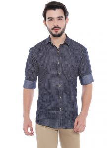 Solemio Navy Blue Cotton Printed Shirt For Mens (code - S18sh1013env)