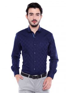 Solemio 100 Percent Cotton Navy Blue Shirt For Mens (code - S18sh1023env)