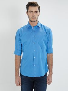 Solemio Blue Solid Shirt For Mens ( Code - S18sh1046ebu)