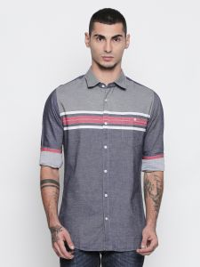 Solemio 100% Cotton Grey Color Shirt For Mens (code - S18sh1079erd)