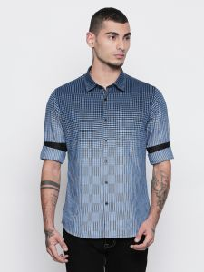 Solemio 100% Cotton Blue Color Shirt For Mens (code - S18sh1080ebu)