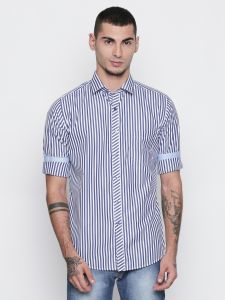 Solemio Poly Cotton Blue Color Shirt For Mens (code - S18sh1101env)
