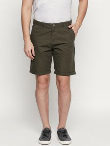 Fitz Olive Cotton Shorts For Mens