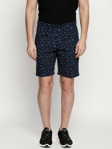 Fitz Navy Blue Cotton Shorts For Mens