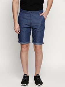 Fitz Blue Cotton Shorts For Mens