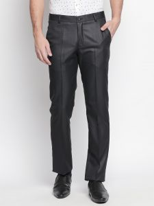 Men's Wear - Solemio Black Trouser For Mens (Code - S18TR3064EBL)