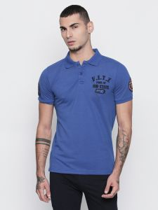 Fitz Cotton Blue Polo T-shirt For Mens (code -s18ts7067bu)