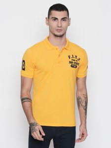 Fitz Cotton Yellow Polo T-shirt For Mens (code -s18ts7067yw)
