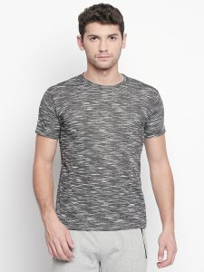 Fitz Charcoal Round Neck T-shirt For Mens( Code - S18ts7091bl)