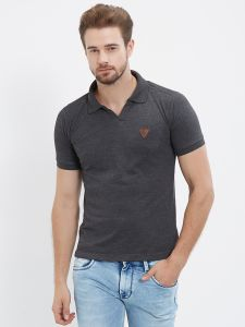 Fitz Charcoal Polo T-shirt For Mens (code - S18ts7092antml)