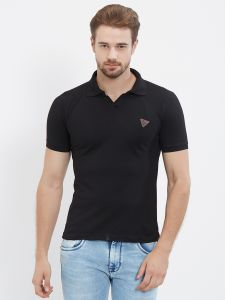 Fitz Black Polo T-shirt For Mens (code - S18ts7092bl)