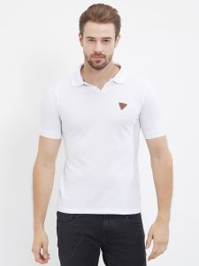 Fitz White Polo T-shirt For Mens (code - S18ts7092wh)