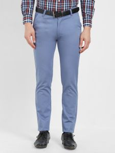 Solemio,Gwalior Suitings Men's Wear - Solemio Cotton Lycra Blue Chinos For Mens  (Code - S19CH1002EBU)