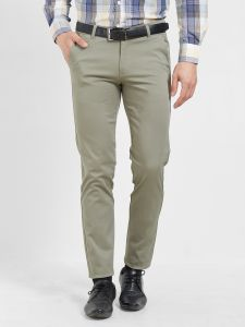 Solemio Men's Wear - Solemio Cotton Lycra Olive Green Chinos For Mens  (Code - S19CH1003EGE)